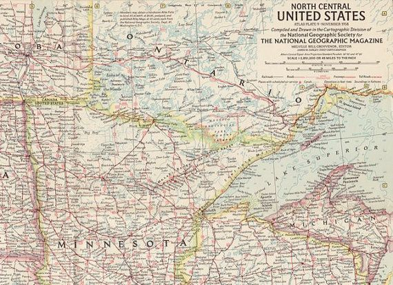 North Central Us Map.North Central United States Vintage National Geo By Thevintageshop