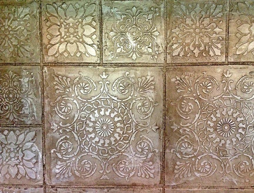 Close Up Of An Embossed Stenciled Quot Tile Quot Backsplash Tile