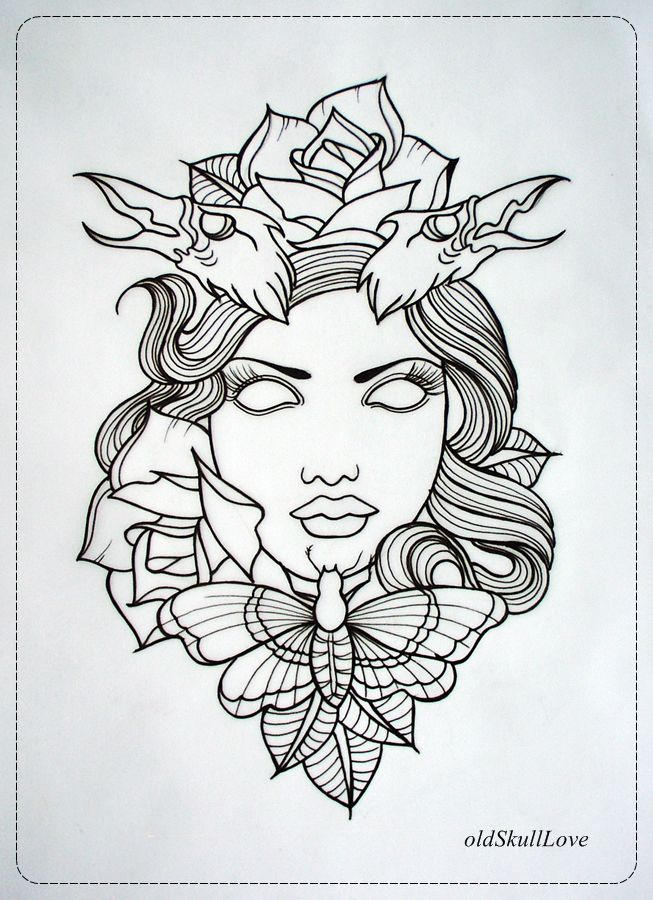 Disney Tattoos outlines | DEAD HEAD tattoo design OUTLINE ...