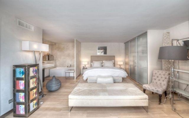 Trendfarben Schlafzimmer ~ Schlafzimmer holzboden helle farben wandafrbe effekte wohnen