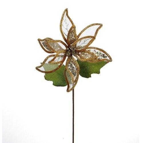Gold Sheer Glitter Poinsettia