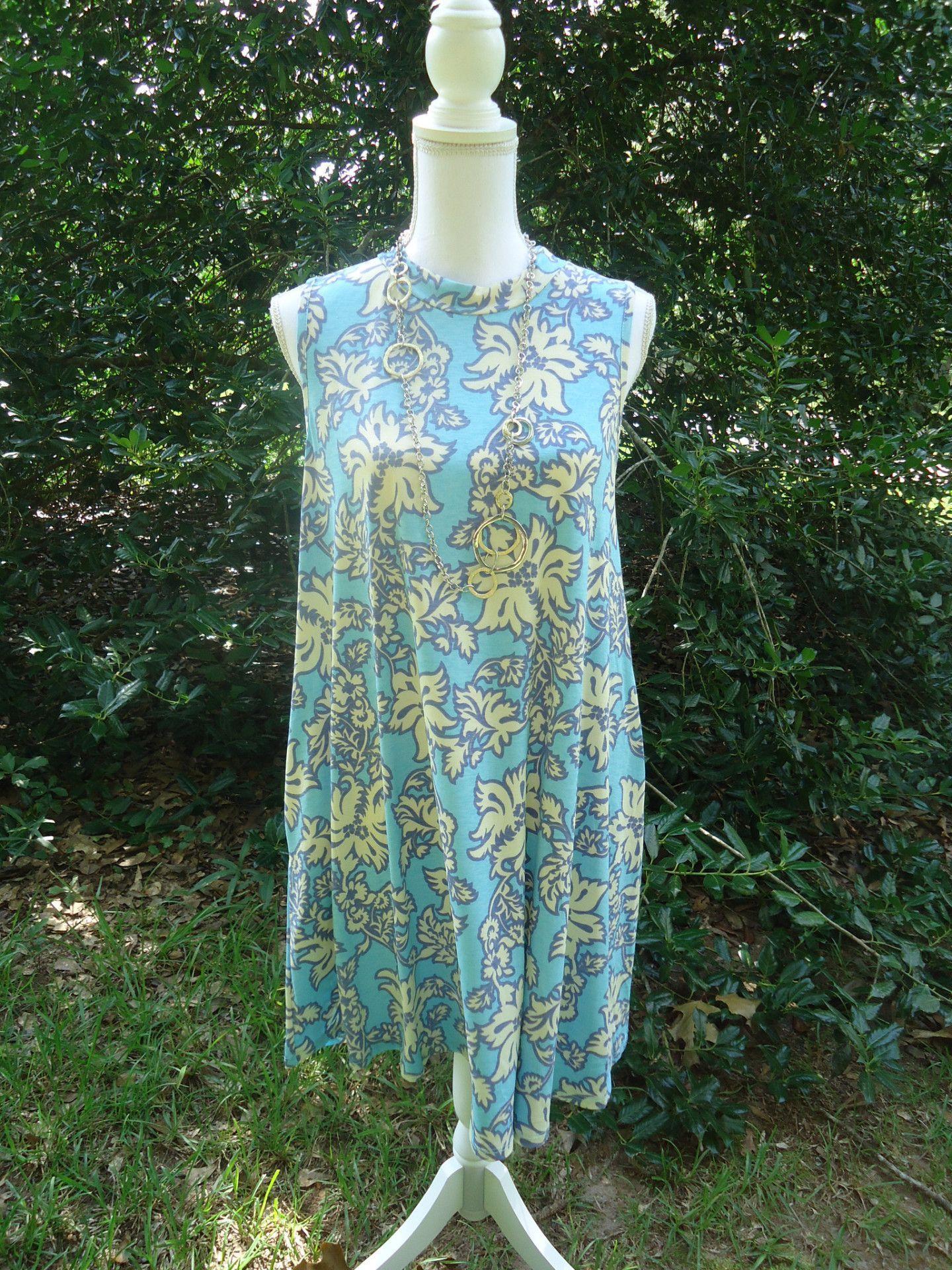 Honeyme 2B Together Adeline 908 Blue Sleeveless Tunic Dress S-L ...
