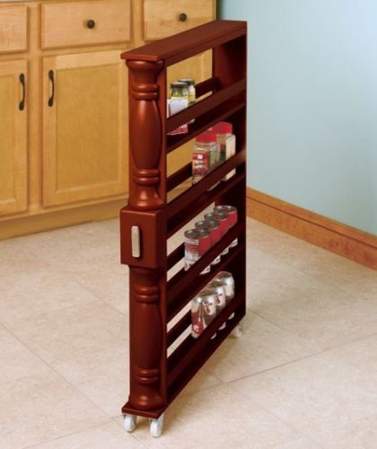Brown Wooden Slim Rolling Spice Rack Kitchen Space Organizer Thin Can Natural Ebay Kitchen Cabinet Storage Kitchen Storage Rack Kitchen Storage