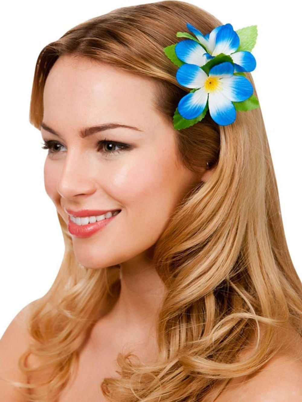 New Royal Blue Hibiscus Flower Hair Clip Fancy Dress Bridal ...