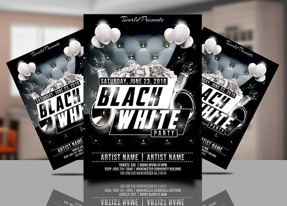 Black And White Party Invitation Template Black White Club Flyer - All white party invitations templates
