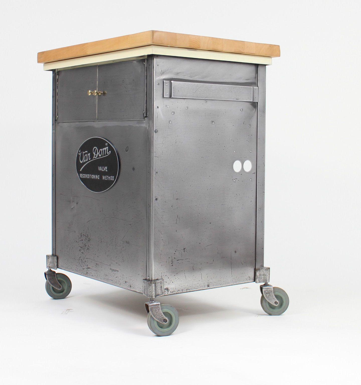 Steel Kitchen Island Mobile kitchen unit Fully restored engineers