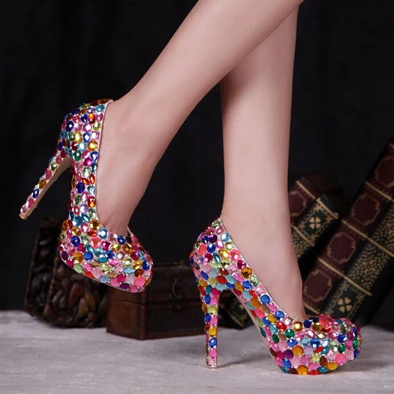 ad13fecb10dc Red Pink Blue Multi Color Sparkly Crystal Wedding Dress Shoes Womens ...