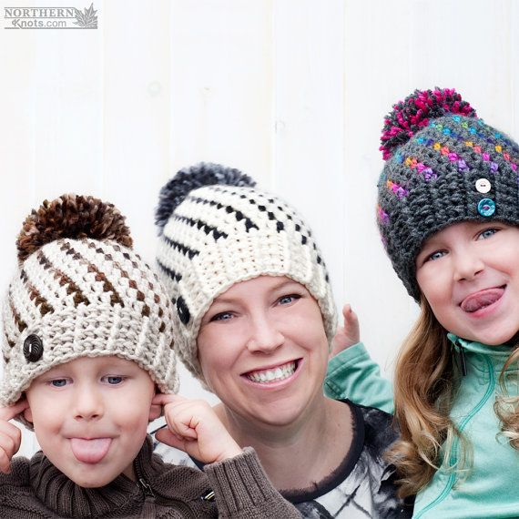 Crochet chapeau patron Northern Lights Pom par NorthernKnotsCanada ...