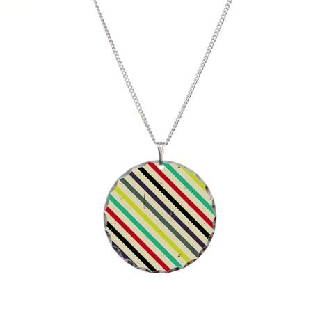 Vintage Striped Charm Necklace #cute #accessories