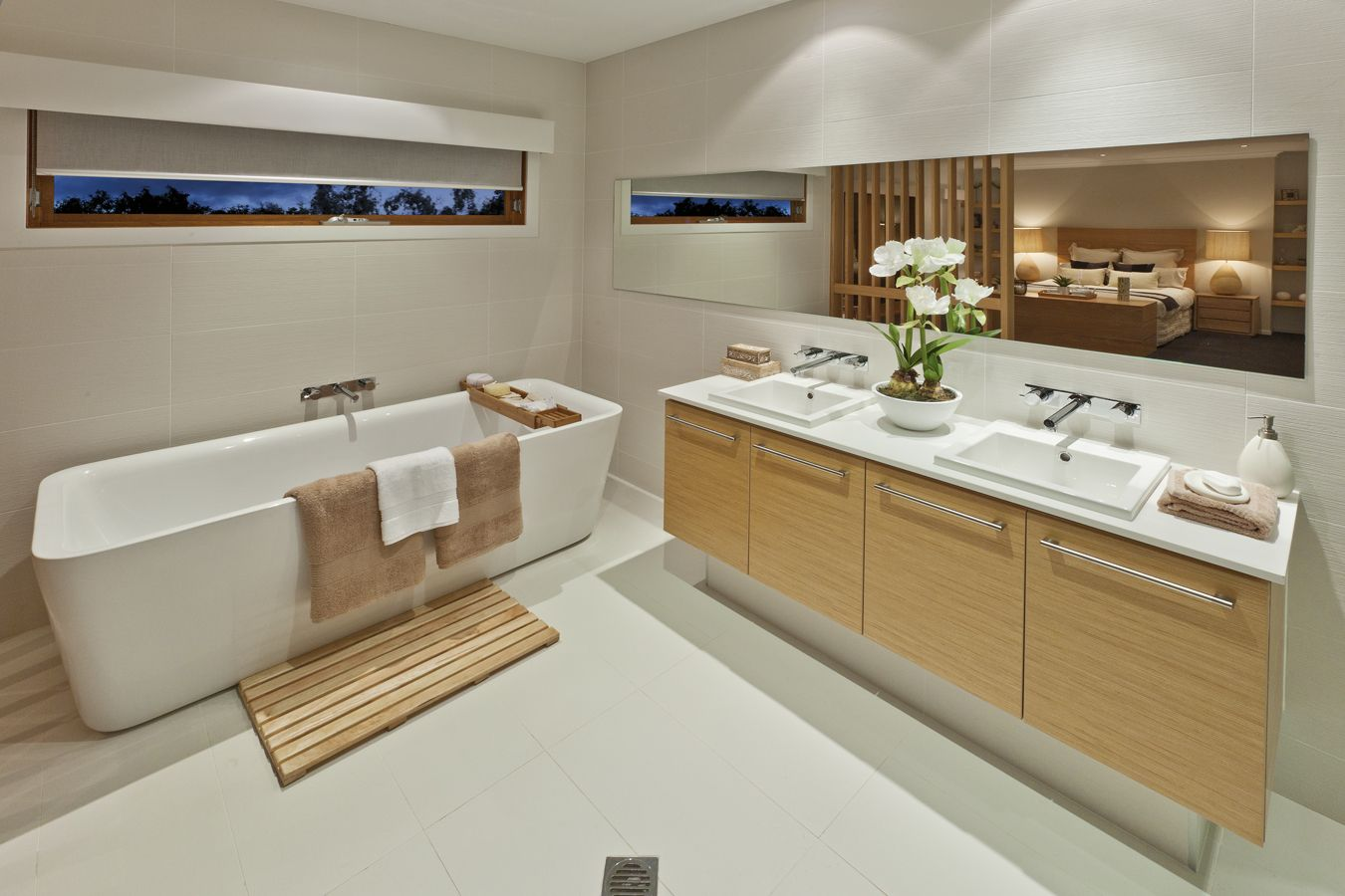 Tranquil Bathroom Metricon Homes 2141 Snow Caesarstone Bathrooms Pinterest
