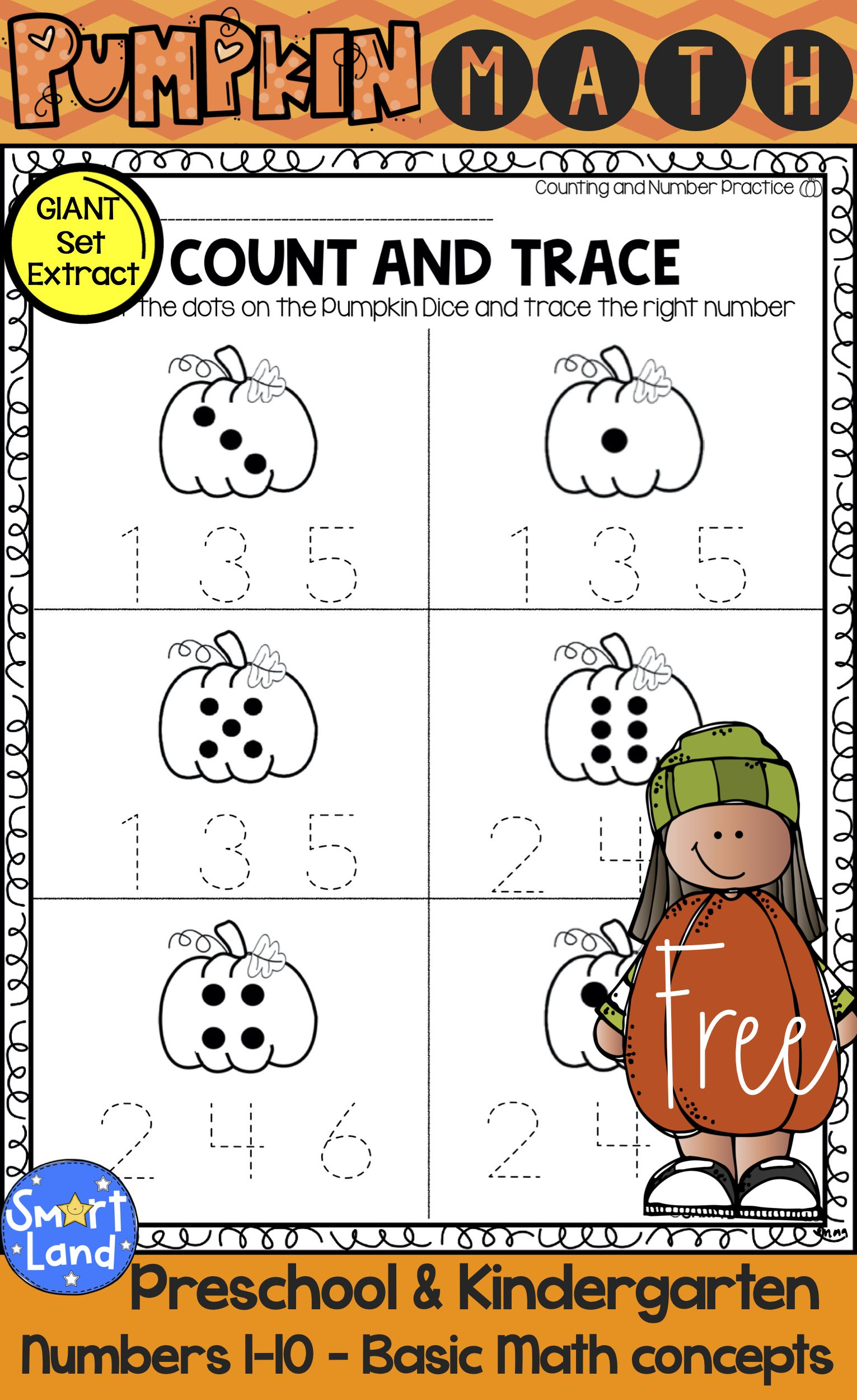 Free Math Practice Worksheets Numbers 1 10 Perfect For Fall And Pumpkin Themes Preschool Math Numbers Kindergarten Math Games Numbers Kindergarten Fall math worksheets kindergarten