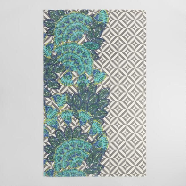 5 X8 Pea And Stripe Reversible Indoor Outdoor Rug V1