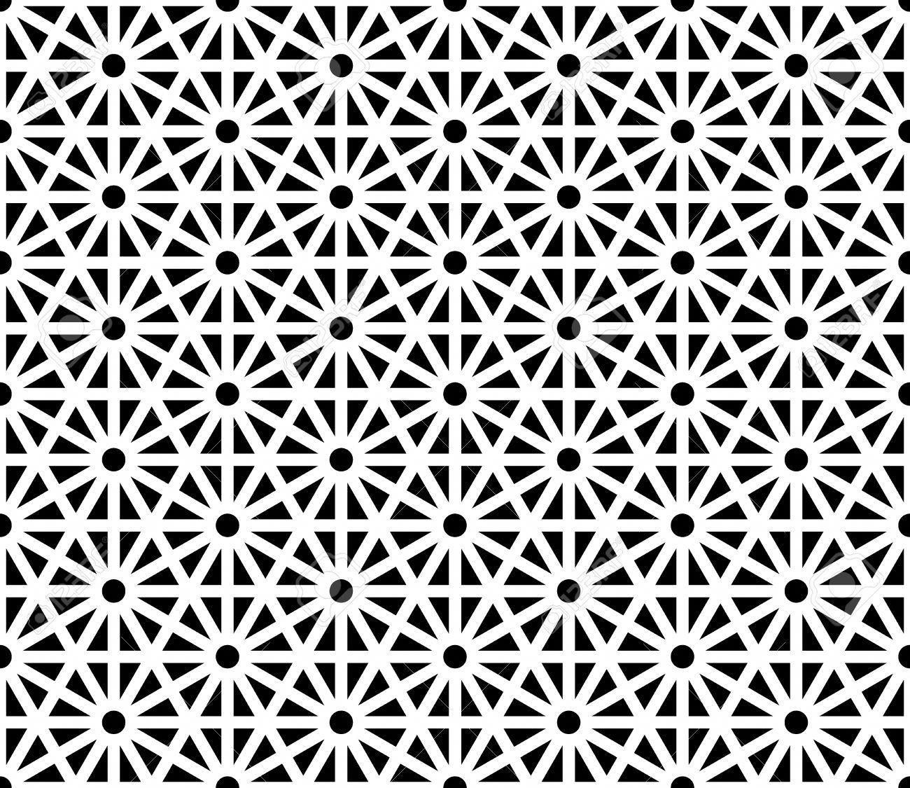 Vector Modern Seamless Sacred Geometry Pattern Black And White