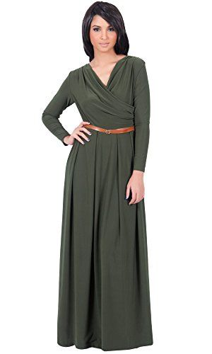 e68abcd93f8 KOH KOH Womens Long V-Neck Full Sleeve Semi Formal Flowy Evening Cute Maxi  Dress