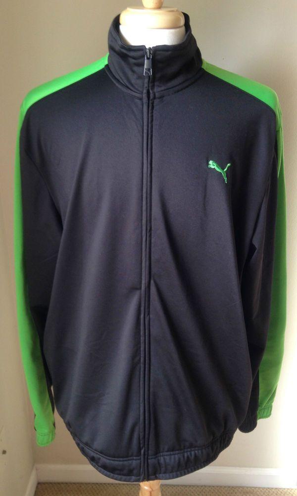 PUMA Track Jacket Black Lime Green XL Full Zip #PUMA