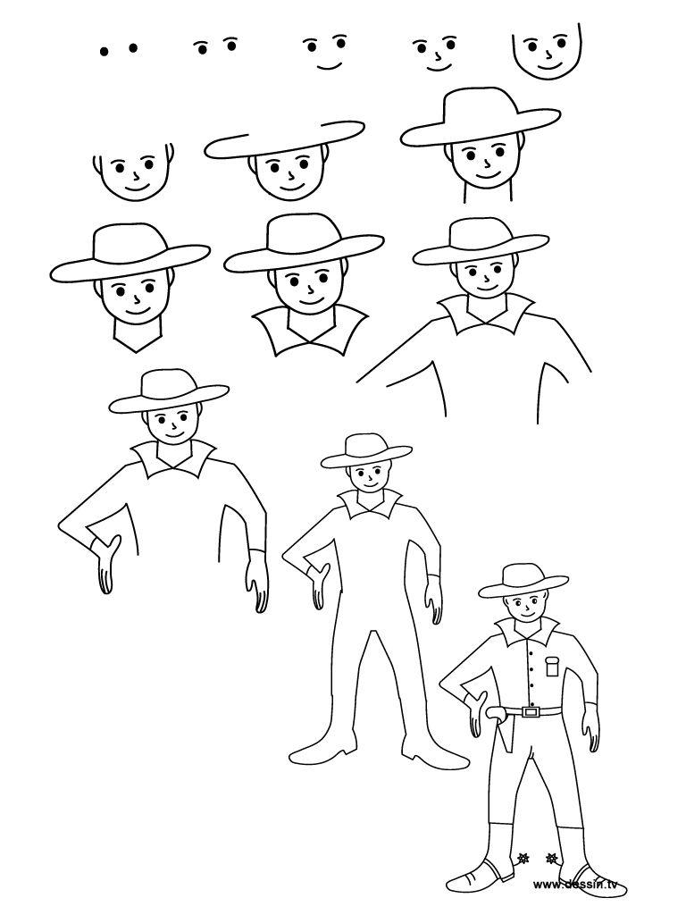 drawing cowboy