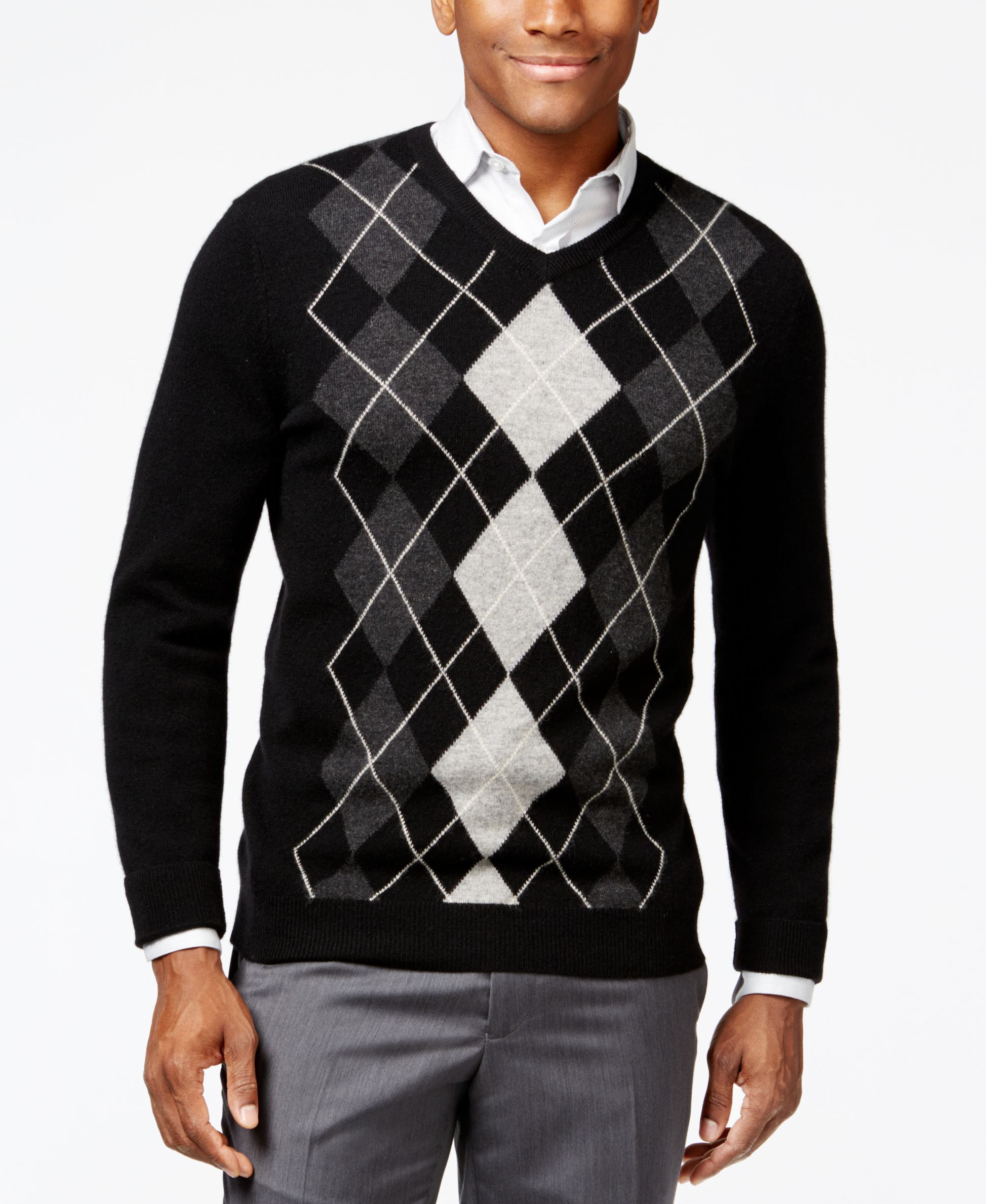 Club Room Cashmere Argyle V-Neck Sweater, Only at Macy's ...