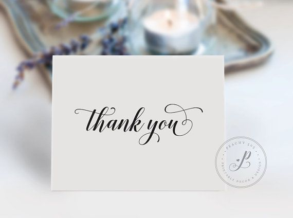 Wedding Thank You Card Printable Thank You Note Thank You Card