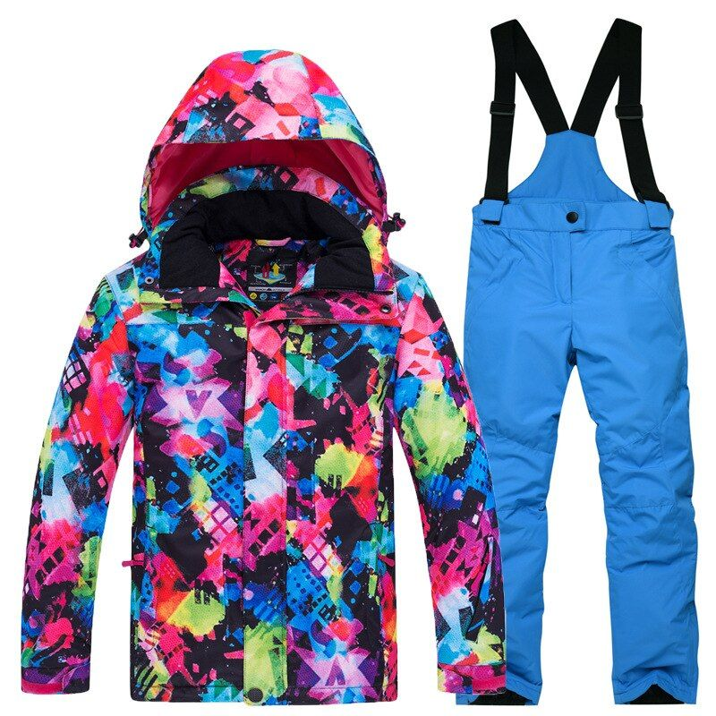 Girls Waterproof Ski Jacket Kids Outdoor Windproof Fleece Lined Hooded Winter Coat
