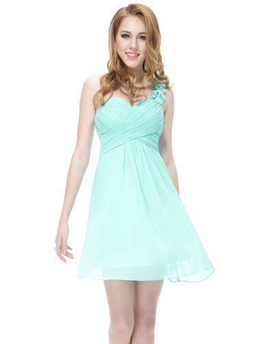 Ever Pretty One Shoulder Flowers Padded Ruffles Short Bridesmaid Dress 03535 - List price: $119.99 Price: $39.99