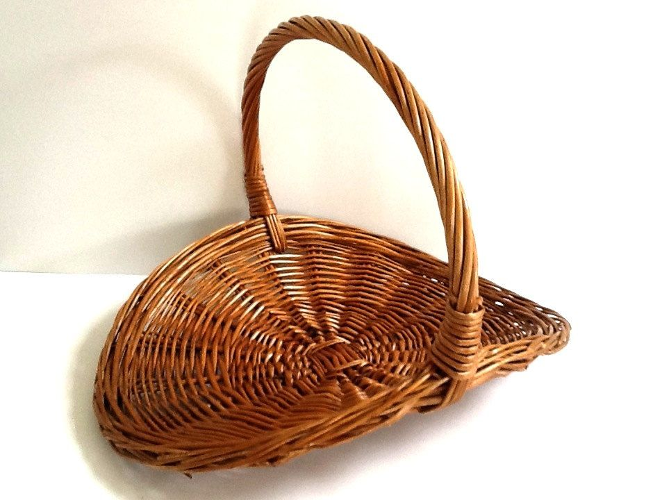 Rattan Flower Baskets : Woven wicker oval garden gathering basket with handle