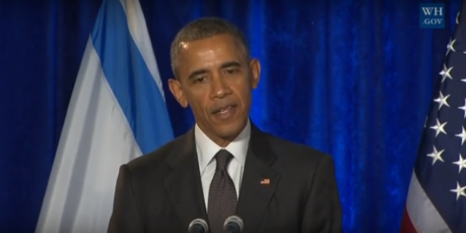 President Barack Obama addresses the Israeli Embassy at an International Holocaust Remembrance Day ceremony on January 27, 2016. (Photo: YouTube Screenshot)