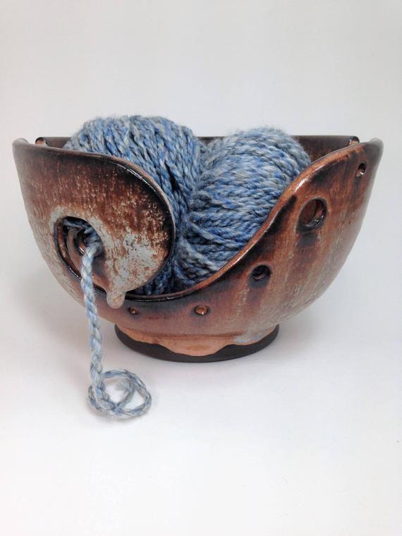 Rustic Yarn Bowl, Knitting Bowls, Ceramic Yarn Bowl, Crochet Bowl, Yarn Holder, Gifts for Knitters, #crochetbowl