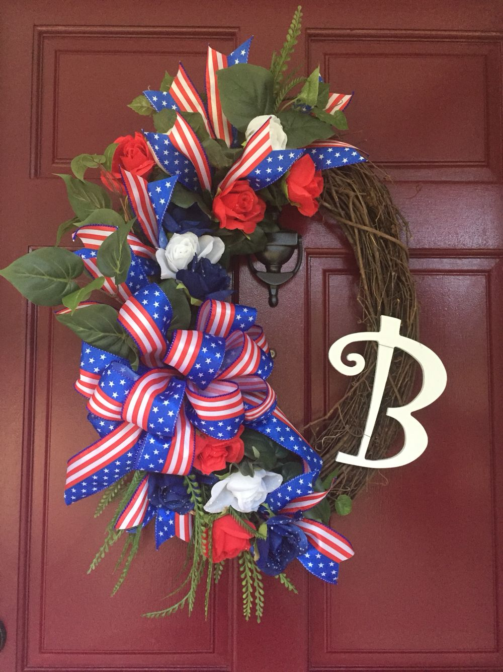 Patriotic Wreath Red White Blue Initial Grapevine Wreath Patriotic Decorations Door Wreaths Diy Patriotic Wreath