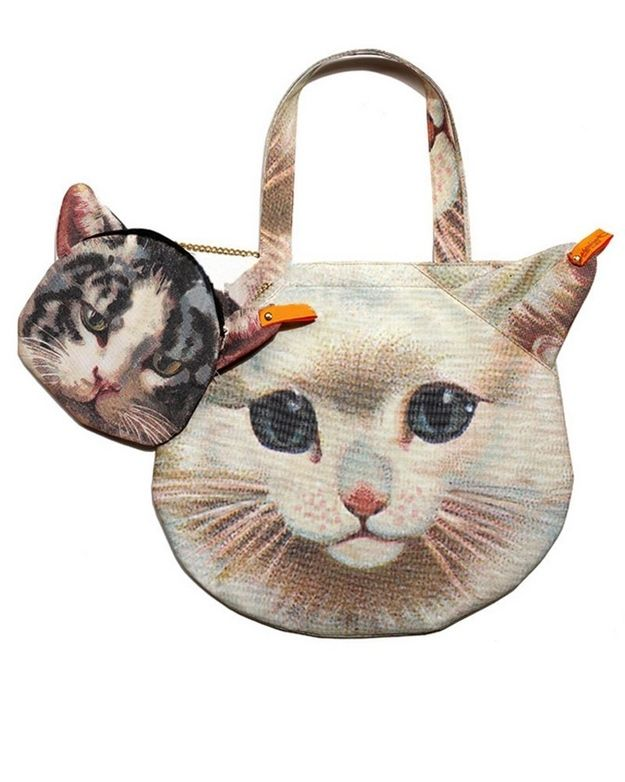 Small cat print small tote purse bag cat lover