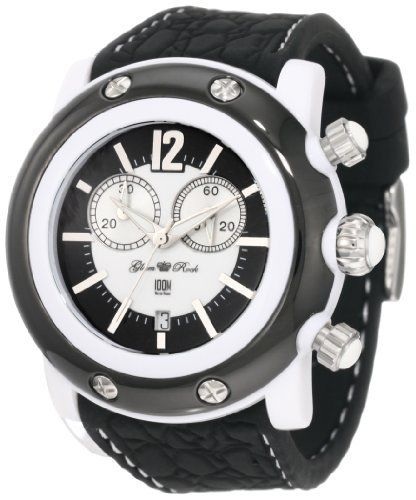 Glam Rock Uni Gk1111 Miami Beach Chronograph White And Black Dial Silicone Watch 99 00 With Silver Tone Hands