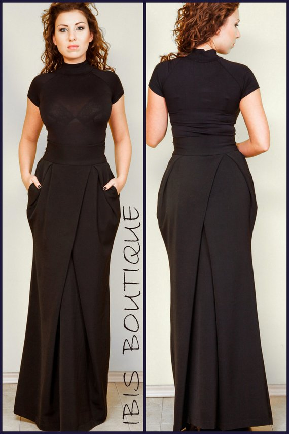 1ea86af8be39 Black high-waist maxi woman skirt, plus sizes / large sizes, long elegant  skirt, wide winter skirt, viscous and polyester, tailor-made