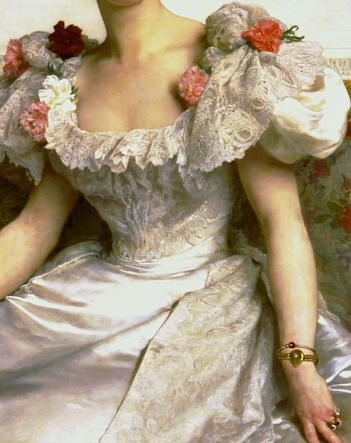 """the-garden-of-delights:  """"Portrait of the Countess of Cambaceres"""" (1895) (detail) by William-Adolphe Bouguereau (1825-1905)."""