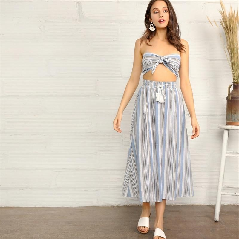 f89dce72ba Knotted Striped Tube Top And Skirt Set i 2019 | Co-ords | Skirts ...