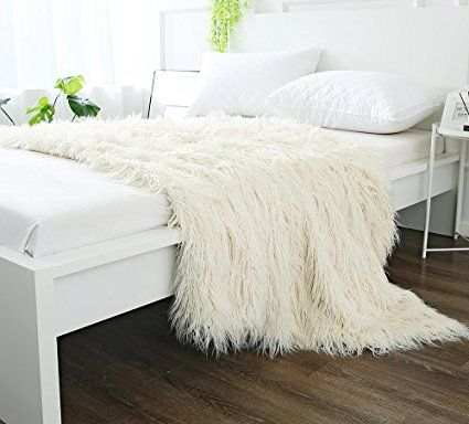 Ojia Super Soft Fuzzy Shaggy Mongolian Lamb Throw Blanket Plush Warm Fluffy Cozy Elegant Long Faux Fur Blanket Be Fur Blanket Bed Bed Throw Blanket