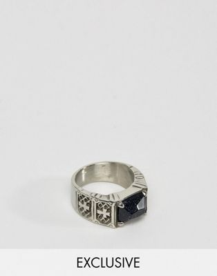 Reclaimed Vintage Inspired Ring With Black Stone And Crosses