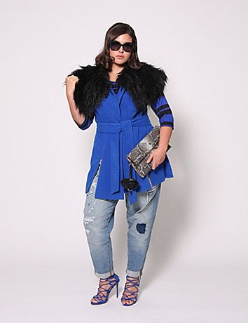 Yes, the (faux) fur collar is removable but we have a feeling you'll mostly have it on. Decorative zipper at hip. Matching self-tie belt. Fully lined. lanebryant.com