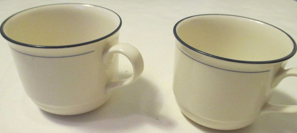 LENOX CHINASTONE BLUE PINSTRIPES  TEA / COFFEE CUPS ONLY SET of 2 cups #LENOX