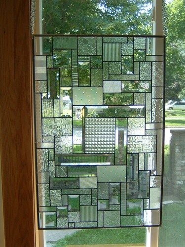 """Stained Glass Window Panel Abstract Geometric ~ random clear beveled glass textures used in this window panel, zinc framing - approx 21¾"""" x 33"""" - can be hung  vertically or horizontally"""