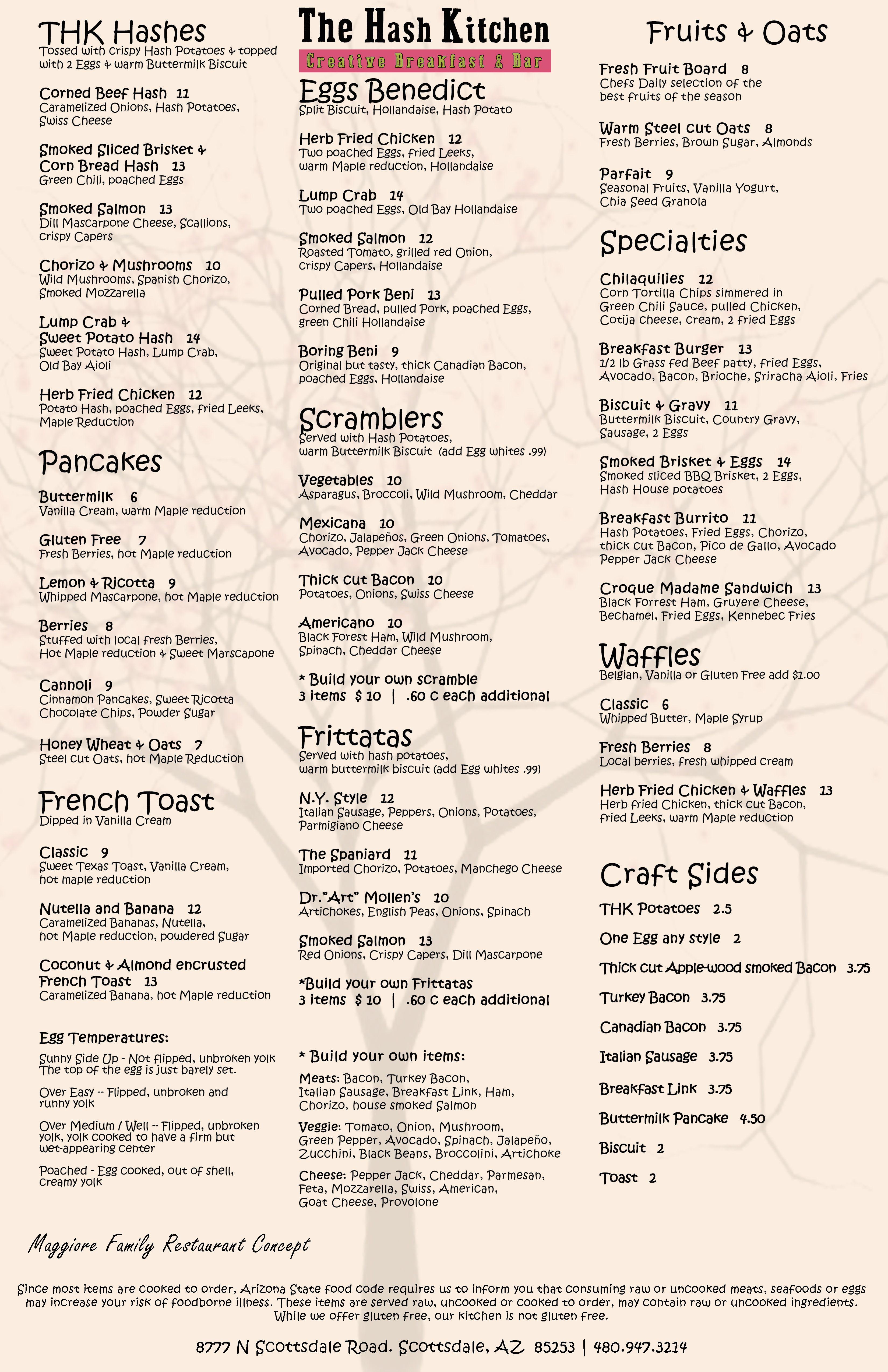 Menu The Hash Kitchen Creative Breakfast Phoenix Restaurants Corned Beef Hash