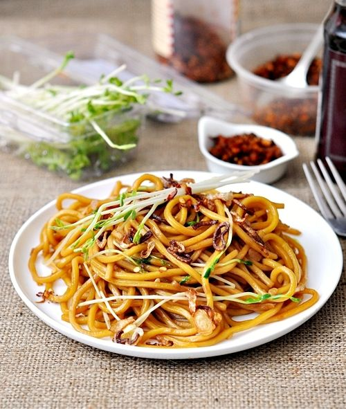 pea shoots chow mein