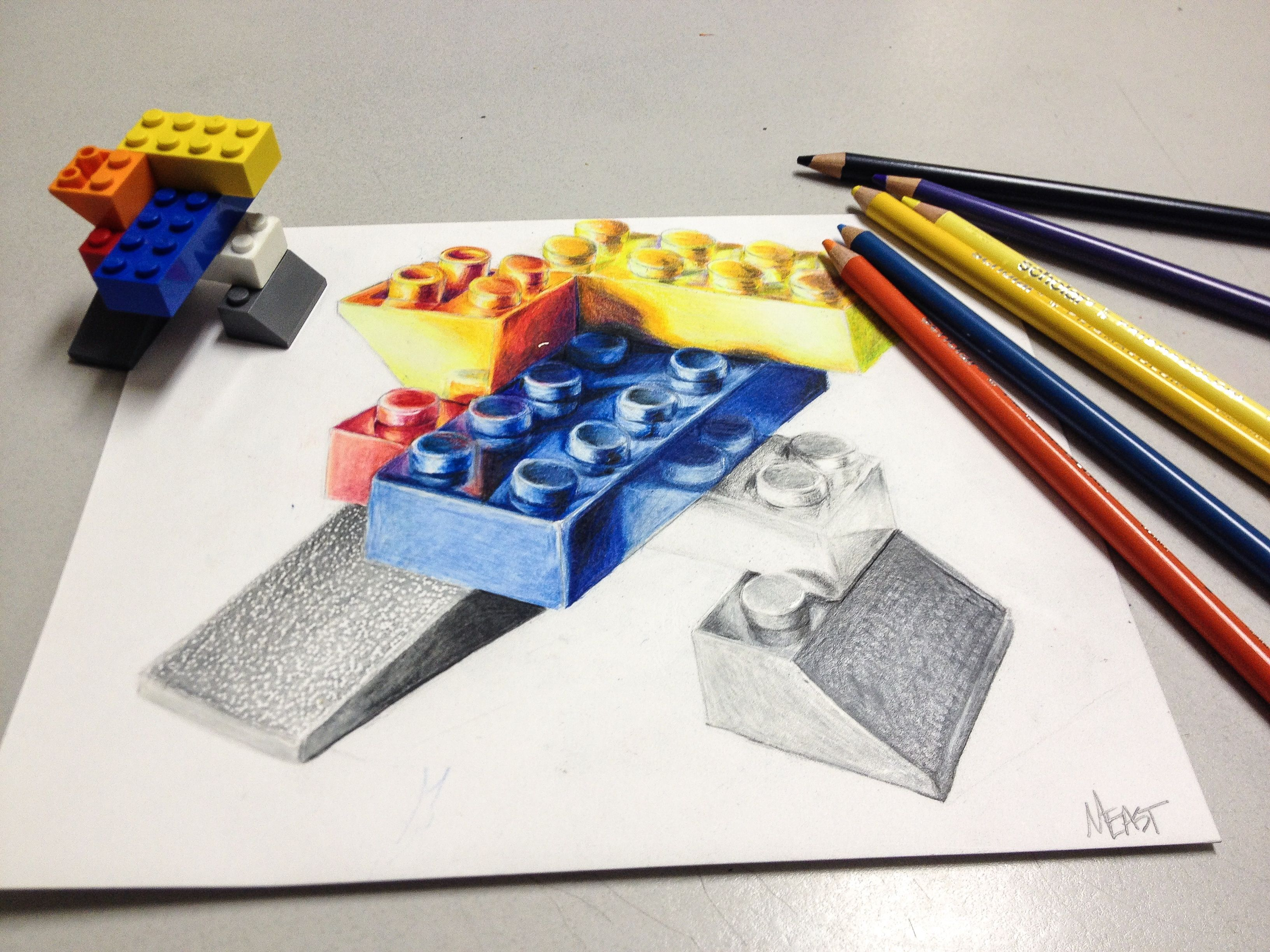 Lego duplo animals at barn coloring pages batch coloring - Lego Colored Pencil Drawing Hs Art Lesson Drawing Skills 2 Point Perspective Like The Pencil And Color Pencil Variation