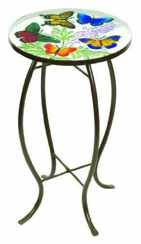 Evergreen 2gm224 Round Glass Top Side Table Butterflies 22 Inches Tall X 12 Inches Diameter Disconti Glass Top Side Table Glass Side Tables Patio Side Table