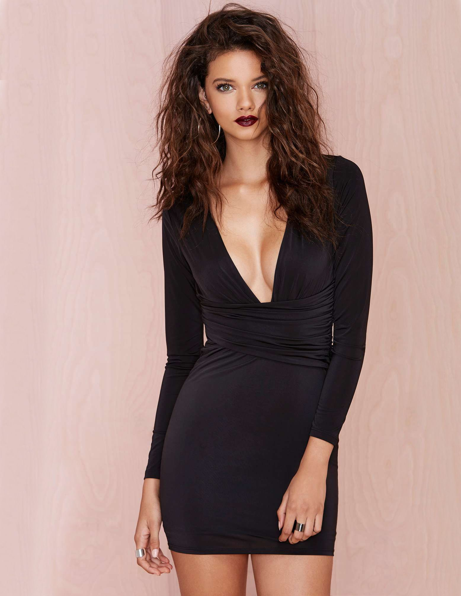 Mini black dress with long sleeves