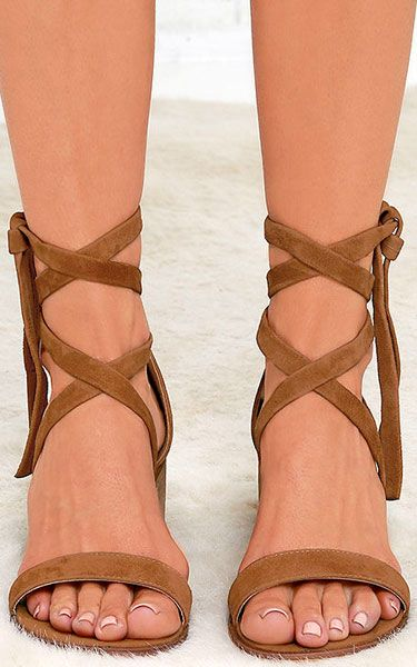 92f7bde4f9c Steve Madden Rizzaa Cognac Suede Leather Heeled Sandals via  bestchicfashion