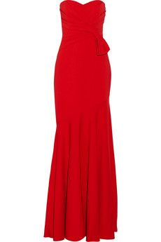 Badgley Mischka Bow-embellished crepe gown   THE OUTNET