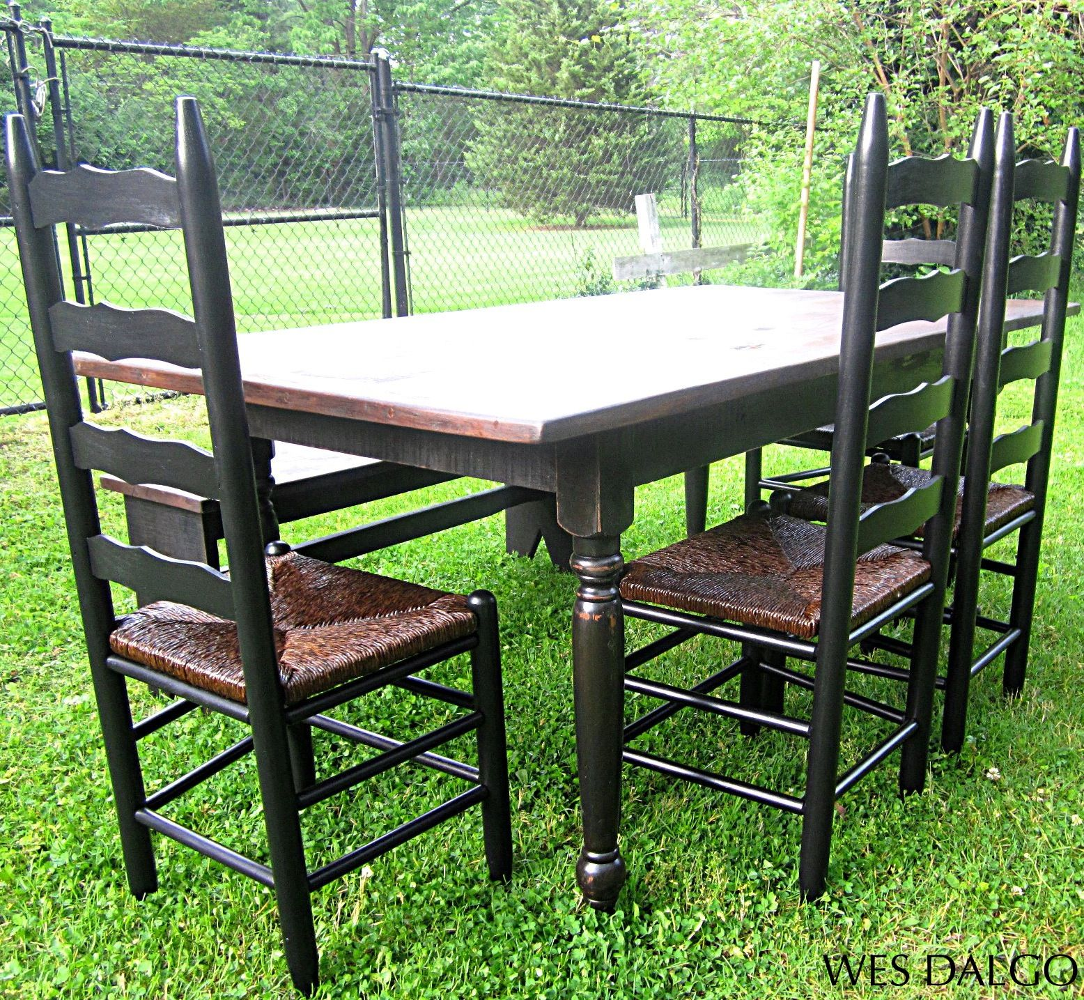 Country Dining Table With Bench: Distressed Black And Walnut Country Dining Table