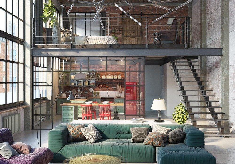 industrial loft by golovach tatiana andrey kot design. Black Bedroom Furniture Sets. Home Design Ideas