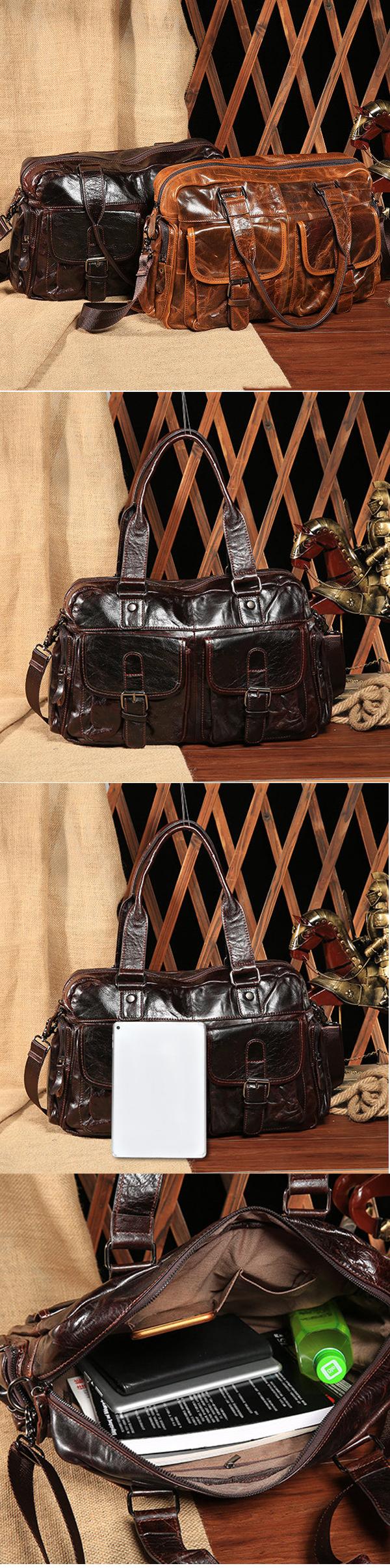 5ef4ef45eaaf Wax Oil Skin Sling Bag Dual-use Handbag Genuine Leather Crossbody Bag For  Men