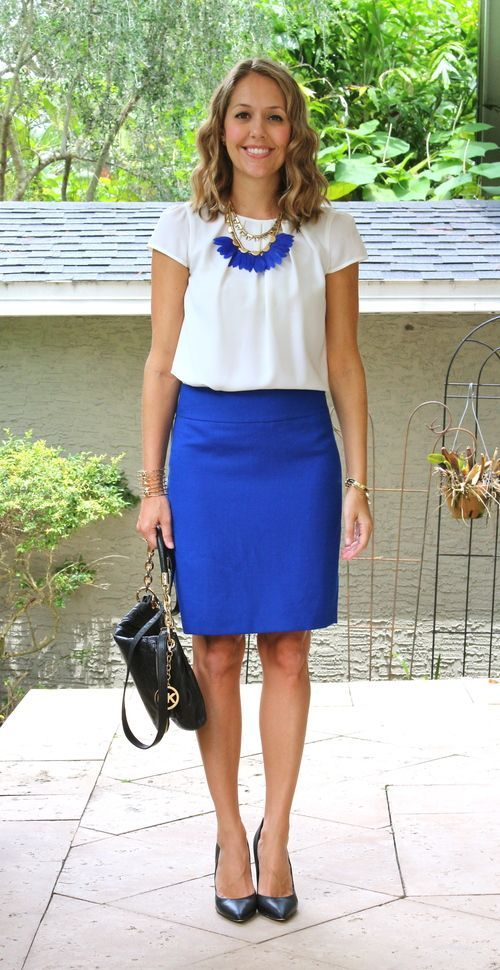 White blouse with cobalt skirt | women's work wear style, office attire, summer work outfit