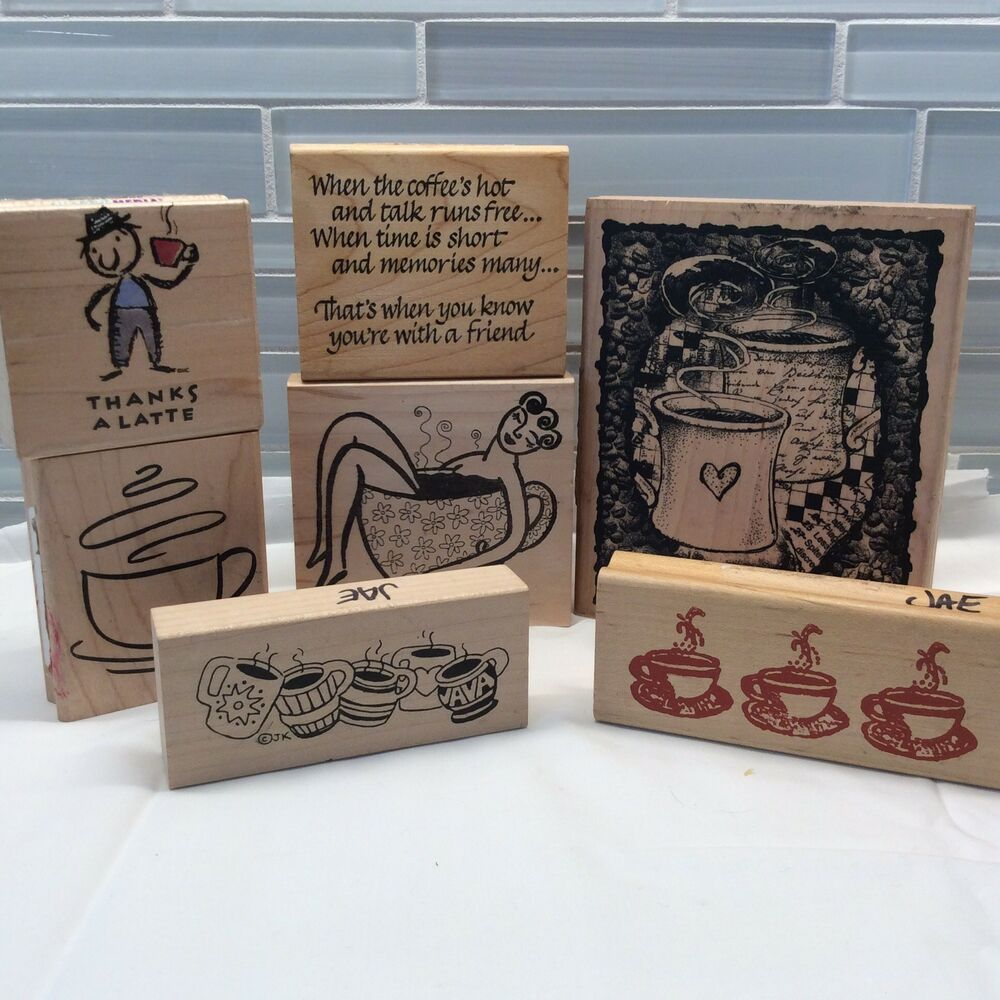 lot of 5 stamps  stamps wood with rubber  dog theme  scrapbooking  crafts  party